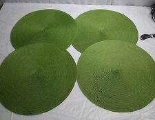 Lime Green Placemats Round Lot of 4 Table Kitchen Decor Woven Textured