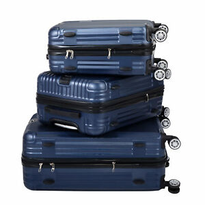 Blue Three Piece Suitcase Set With Vertical Stripes And Air Plane Wheels