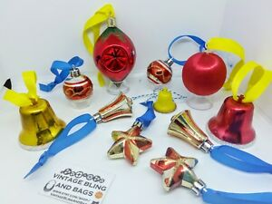 11 red & gold plastic Vintage baubles silk Christmas tree decorations ornaments