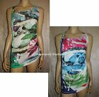 DESIGUAL LAMBADIE CHOICE OF GREEN OR BLUE FLORAL TEXT PRINT SUN TOP SZ 8-18 2NDS