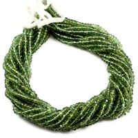 """Green Apatite Natural Gemstone Rondelle Faceted Beads Full 13"""" Strand 3-3.5 mm"""
