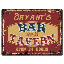 PPBT0409 BRYANT'S BAR and TAVERN Rustic Tin Chic Sign Home Store Decor Gift