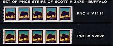 USA, SCOTT # 3475, SET OF 2 STRIPS OF PNC5 # V1111 & V2222 OF AMERICAN BUFFALO