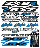 ZX-9R Ninja Racing Motorcycle Decals Stickers Set Laminated ZX9R ZXR SKY BLUE