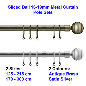 Speedy Sliced Ball 16-19mm Metal Curtain Pole Sets - 2 Sizes - 2 Colour NEW