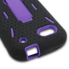 For ZTE Warp 2 N861 Sequent Case Hard Soft Dual Layer Black Purple Hybrid Cover