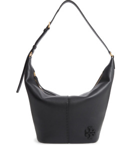 AUTH NWT $548 Tory Burch McGraw Zip Top Bucket Black Pebbled Leather Hobo Bag