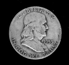 Franklin, Silver 1/2 Dollar coin, 1953-D circulated-ungraded. 90% silver.