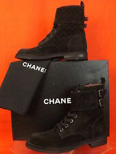 14B NIB CHANEL BLACK QUILTED SUEDE LACE UP CC LOGO BELTED SHORT COMBAT BOOTS 41