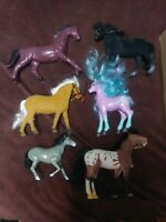 Lot Of 6 Vintage Toy Horses Some with Manes Different Materials Rare Toys Neat