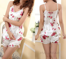 Womens Sexy V neck Summer Nightwear Braces Shirts Shorts Underwear Pajamas Set