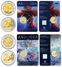 ANDORRA 2 x 2 EURO VERFASSUNG + MENSCHENRECHTE 2018 BANKFRISCH IN COINCARD