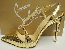 Christian Louboutin June 100 Metallic Gold Python Pumps Slingbacks Shoes 37.5