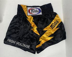 Fairtex High Voltage Size M Black Yellow High Waist Thai Boxing Shorts L9