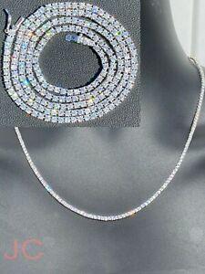 7.70 Ct G/VVS1 Moissanite 2MM Tennis Necklace 14K White Gold Over 20 Inch