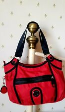 Kipling  Red Zouk Shoulder / Tote Bag With Monkey Key Ring  New