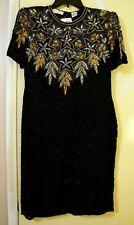 Dazzling Lawrence Kazar Black Embellished Short Sleeve Formal Dress Size M NWT
