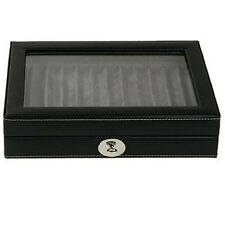 TS0432BLK Pen Box Display Storage Black Leather for 12 pens