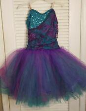 Ladies Dance Costume Curtain Call Size Adult Large (ALA) Purple Turquoise Sequin