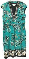 Liz Claiborne Womens Teal Green Floral Paisley Dress Size Petite 16P New