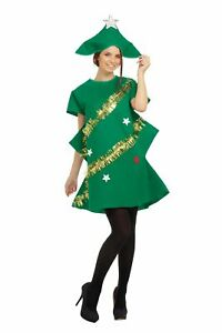 Ladies Christmas Tree Adult Womens Xmas Party Fancy Dress Costume Outfit