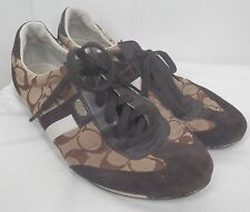 Coach tennis shoes womens brown signature canvas suede tie Joss size 10 M