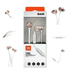 JBL T290 Aluminum In Ear Headphone Earbuds Tangle Free Cord Microphone Rose Gold