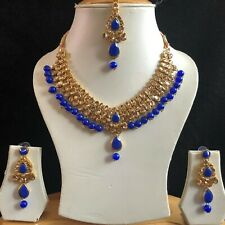 BLUE GOLD INDIAN KUNDAN COSTUME JEWELLERY NECKLACE EARRINGS CRYSTAL SET NEW 036