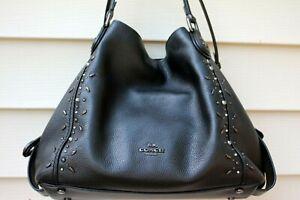 Coach 22794 Black Edie 31 Prairie Rivets Black Pebbled Leather Shoulder Bag