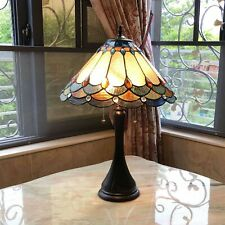"""Tiffany Style 2-Light Table Lamp Yellow Orange Stained Glass w Jewels 22"""" High"""