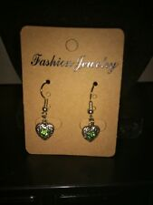 Silver Plated Heart Dangle Earring with Green Stone - Free Shipping in US