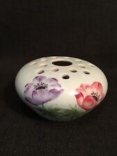 Vintage E Radford Blue Glazed Posy Bowl Holder 1019 Purple & Red Flowers