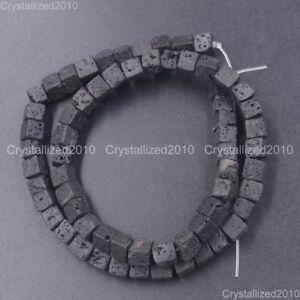Natural Black Volcanic Lava Gemstone Square Cube Beads 8mm 10mm 12mm 15.5'' Pick