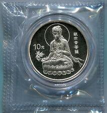 China 1998 Goddess of Mercy Lotus Kuanyin Silver Coin 1 OZ 10 Yuan