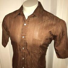 Vtg 50s 60s Brown Arrow Kirk Kent Shirt Disco Mod retro sanforized Mens 16