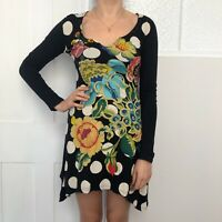 Desigual Women Mini Dress Size Small Long Top Black Floral Long Sleeve Spotted