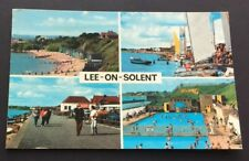 Postcard Lee-on-the-Solent Multi-View Beach Swimming Pool Boats Hampshire f1845