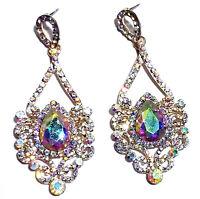 AB Chandelier Earrings Rhinestone Crystal 3.1 inch Pageant Bridal Drag Prom