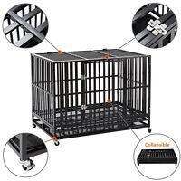 """42"""" Heavy Duty Metal Dog Crate Cage Square Tube Pet Kennel Playpen Wheels & Tray"""