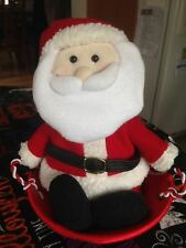 Santa Claus Sledding Animated Light Up Musical Plush Figure Rocks to Sleigh Ride