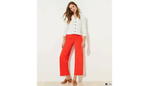 Loft Pull-On Pants Cropped Tangerine Small sz. 4-6 NWT