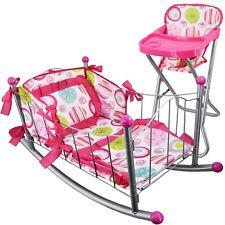 Set of Dolls Feeding High Chair & Cot Rocking Cradle Doll Furniture Pretend Play