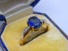 A Superb Ladies 9ct Gold Kyanite & Diamond Dress Ring Size N, 2.2g