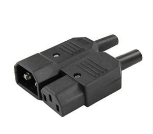 1 Pair C13 IEC Rewirable Male & Female Inline Socket Plug 10A 250V 3 Pin Kettle