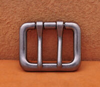 Solid Antique Silver Center Bar Pin Belt Buckle Fits 40mm DIY Leathercraft Belts