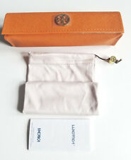 TORY BURCH ORANGE OPTICAL FRAME CASE WITH CLEANING POUCH