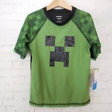 Minecraft Boys Shirt Size M UPF Sun Protection Green Black Short Sleeve NEW