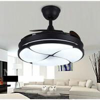 "42"" Ceiling Fan Chandelier LED Light Remote Retractable 4 Blades Metal Fixtures"