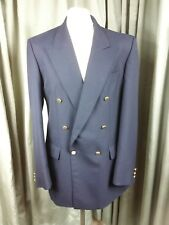 Marks & Spencer Wool Blend Navy Double Breasted Gold Button Blazer C40L