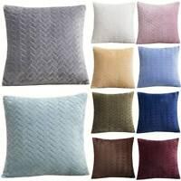 Solid Soft Cushion Cover Sofa Chair Car Bed Waist Throw Pillow Case Home Decor